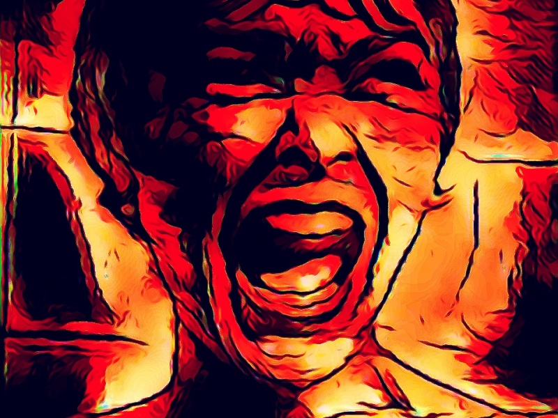 """""""Scream""""... Original digital illustration, after Hitchcock's Psycho. Image contains a digital painting of actress Janet Leigh's famous wide-mouthed scream in the shower."""