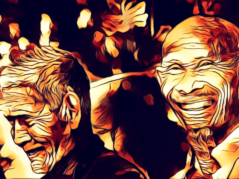 Dark illustration of two elder gentlemen sharing a laugh.
