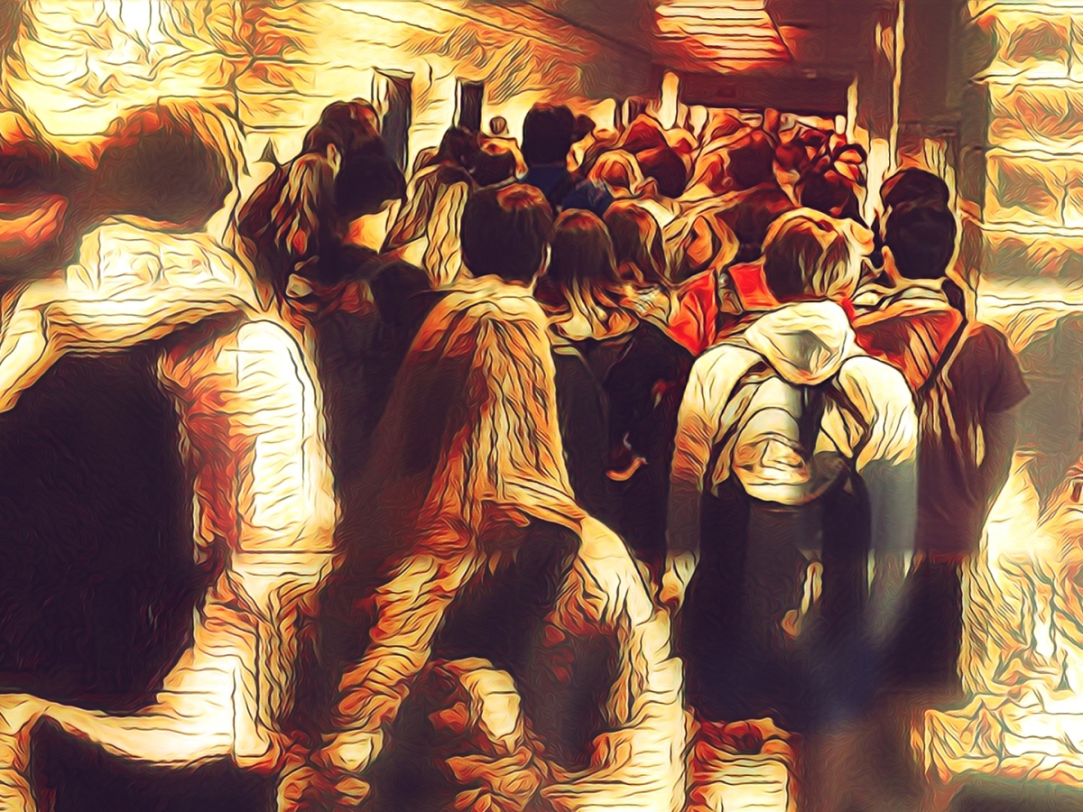 Dark, digital illustration of Georgia children returning to school in the Age of Covid-19, after a photo by Hannah Watters, 15-year-old student, Twitter, 8/2020.