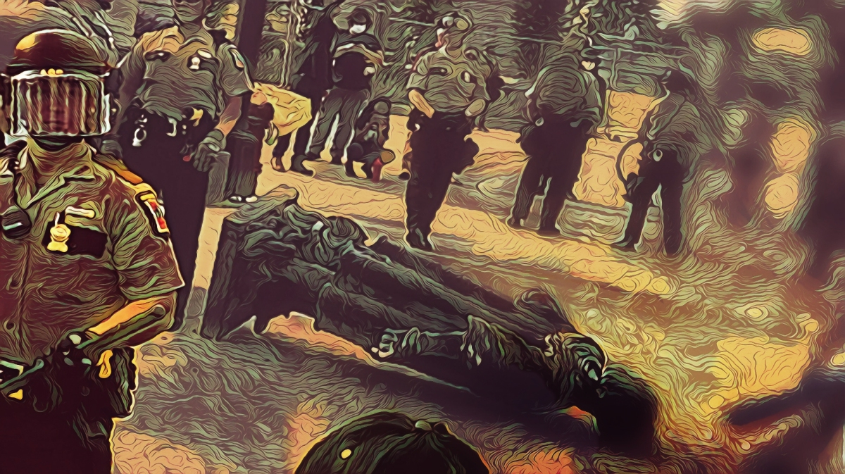 #NoStatuesMatter #3 Study for dark digital illustration of toppled Christopher Columbus. (After 6/20 AP photo).