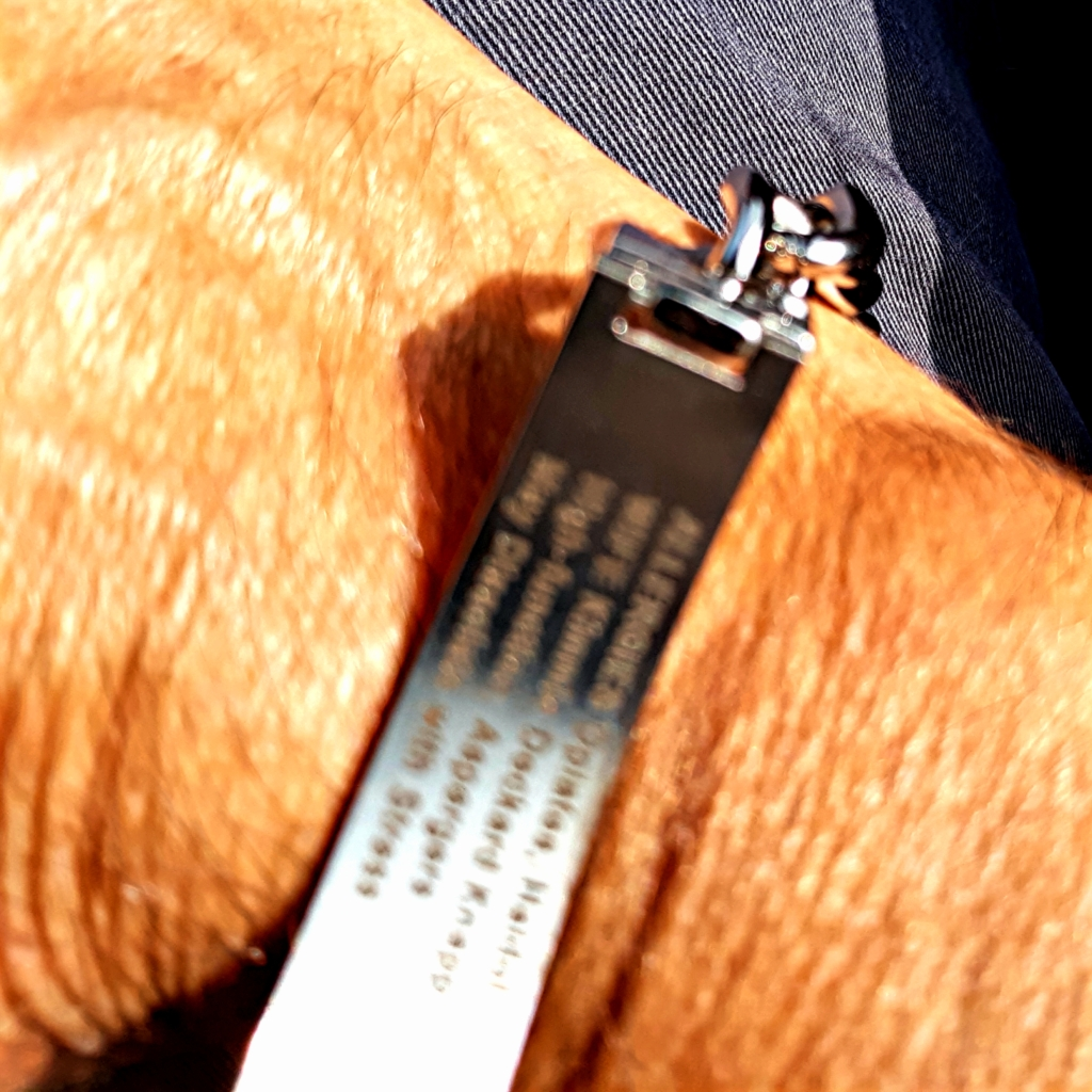 Photo of back of personalized Medical Bracelet for autism.