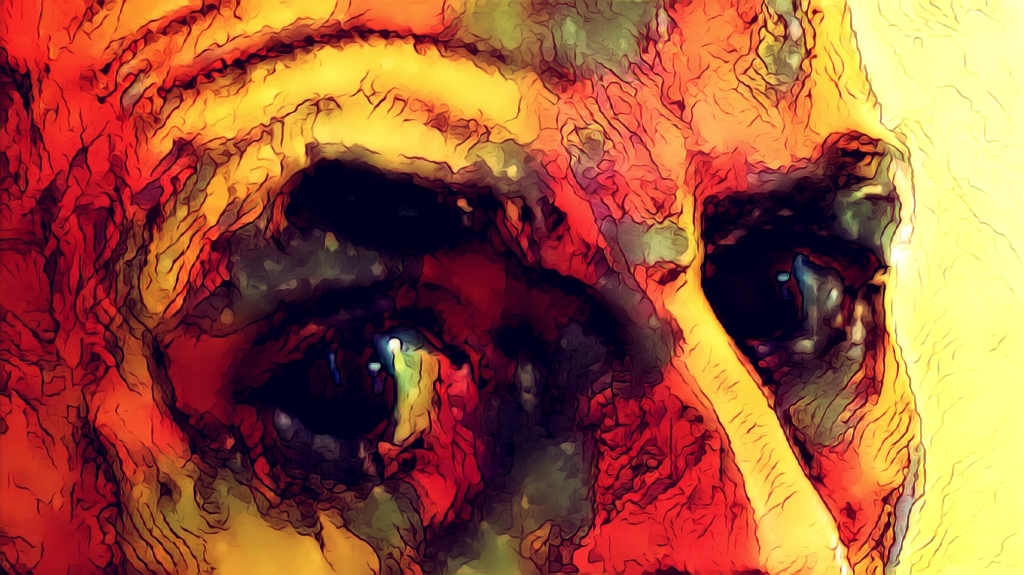 "Psychedelic Illustration of eyes... gesturing, ""Seriously...?"""