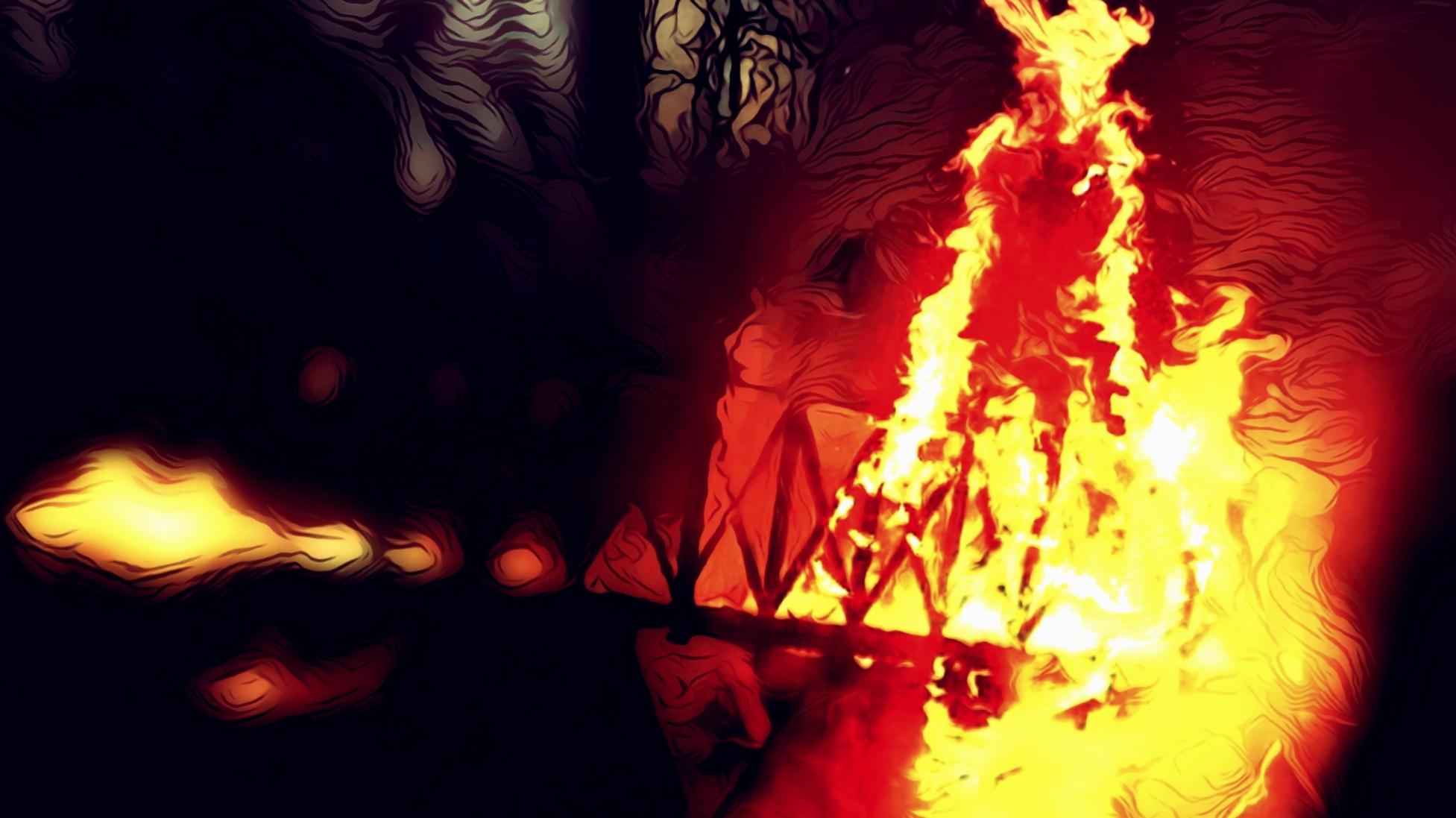 Dark digital illustration of woman burning on a bridge.