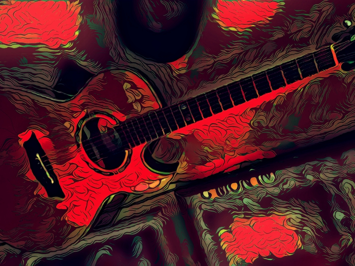 Original digital illustration of acoustic guitar.