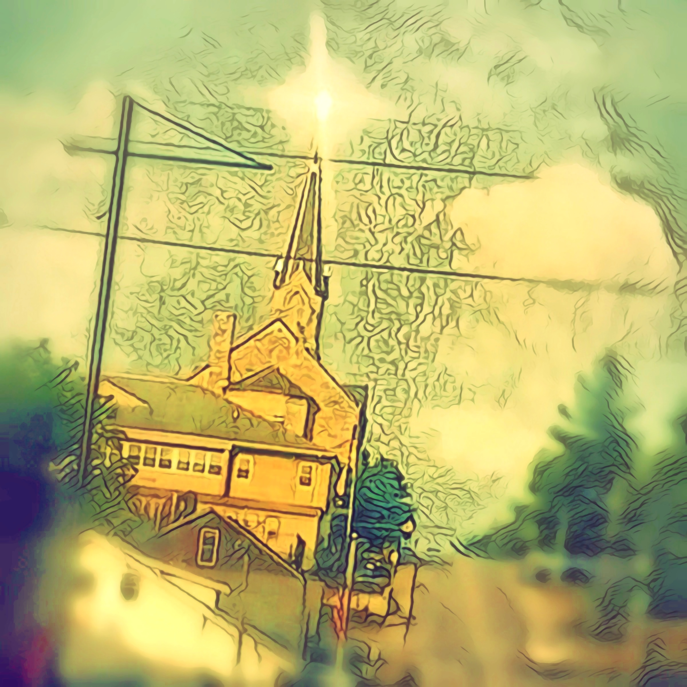 """St. Vincent's,"" Bedford, Indiana. Original digital Illustration of St. Vincent's church spire, illuminated by sunrise."""