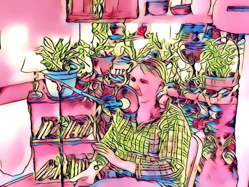 """Kimmie Sings,"" original digital illustration of Kimmie Deckard Knapp of the American Folk Rock duo, Kimmie & Johnny."