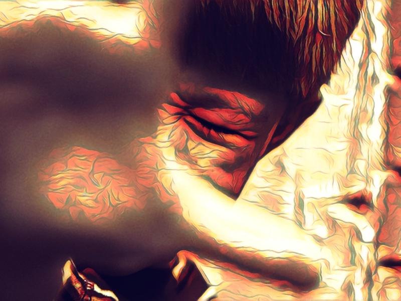 """""""Defiance,"""" original digital illustration of boy holding up hand in defiance."""