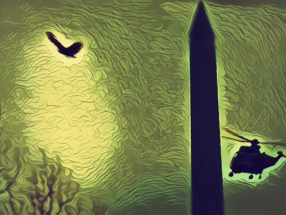 """America Enters the Bardö, Trump Departs, 1/20/2020"" Original digital illustration of Marine One helicopter, Washington Monument, and eagle."