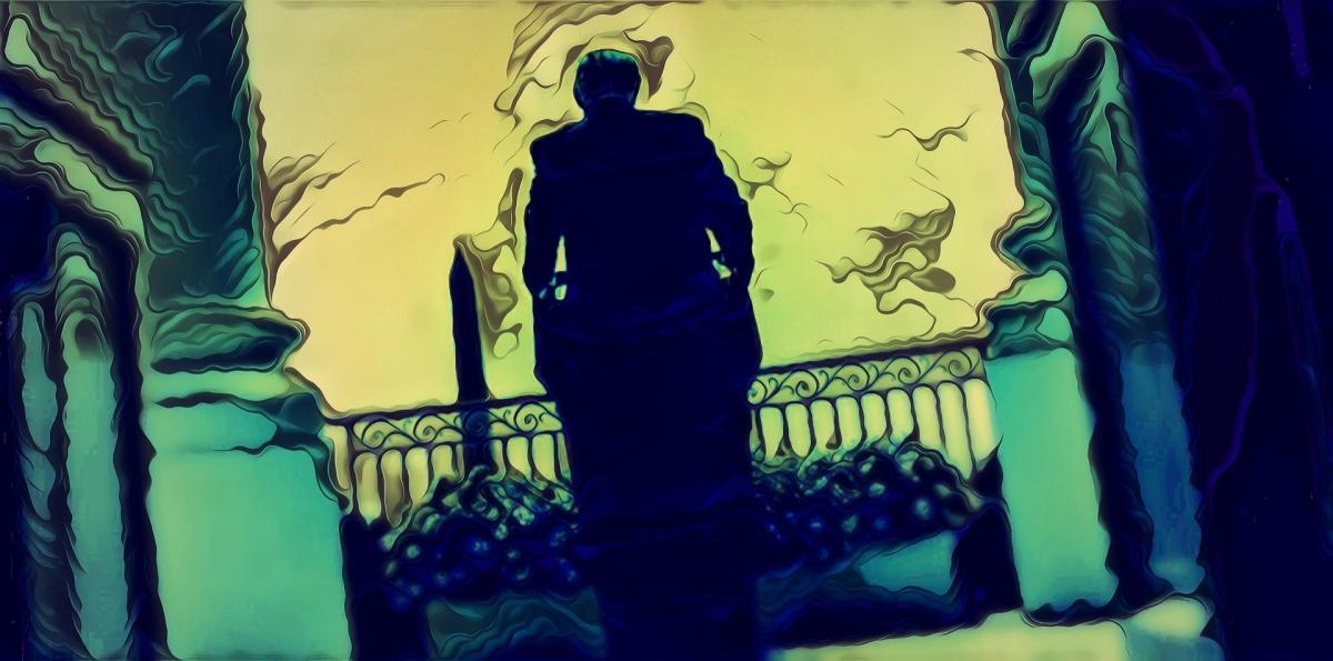 """Twilight of the Manchild,"" original digital illustration in graphic-novel influenced style, after White House photo."