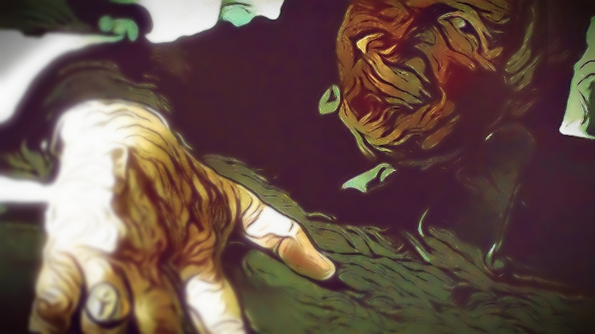 """""""Not Everyone Was My Friend,"""" original digital illustration in a graphic-novel influenced style of a priest leering. From a frame grab of Mystic River."""