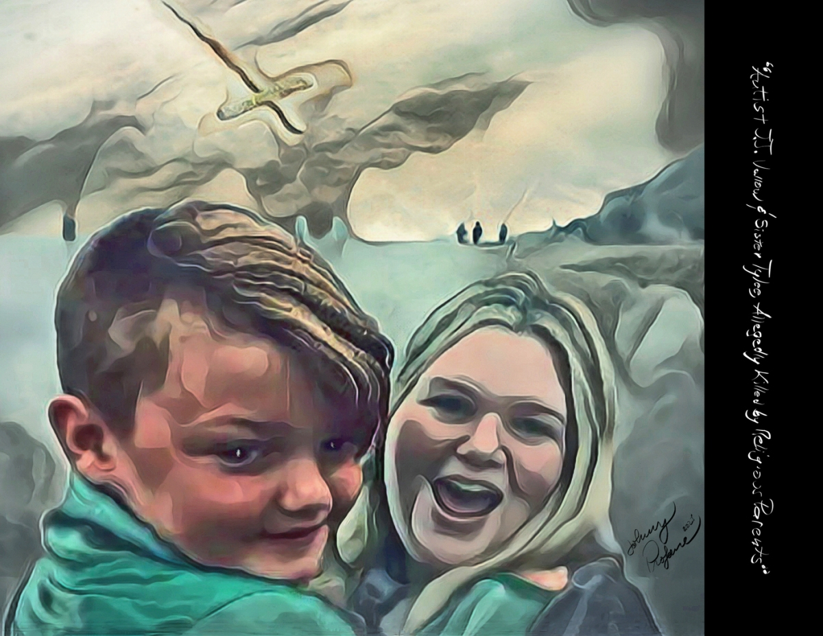 """Photo. """"Autist JJ Vallow & Sister Tylee, Allegedly Killed by Religious Parents, 2020."""" Low-resolution version of original digital illustration. (c) 2021 John M. Knapp, Creative Commons Non-Commercial Usage. High-resolution wallpaper & poster files free to premium subscribers."""