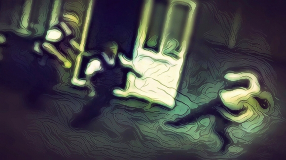 """Photo. """"Paul, Autist, Meets the Bristol Police 8/2015."""" Low-resolution version of original digital illustration. (c) 2021 John M. Knapp, Creative Commons Non-Commercial Usage. High-resolution wallpaper & poster files free to premium subscribers."""
